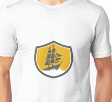 Sailing Galleon Tall Ship Crest Retro Unisex T-Shirt