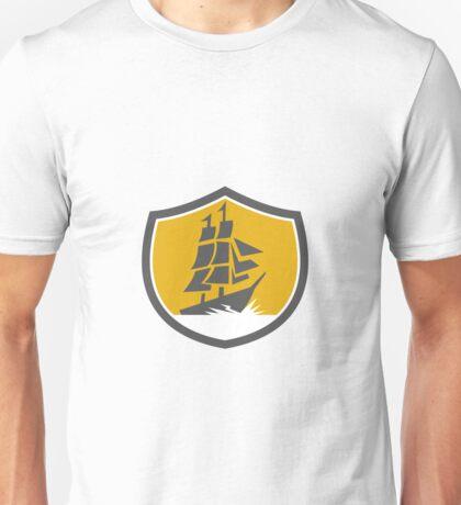 Sailing Galleon Tall Ship Crest Retro Unisex T-Shirt