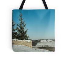 frosty winter day in the village  Tote Bag
