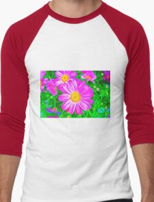 Colorful Daisies Men's Baseball ¾ T-Shirt