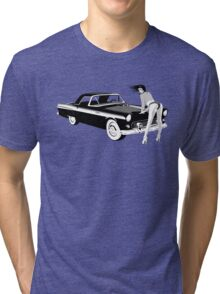 Pin-up girl & hot car  Tri-blend T-Shirt