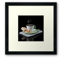 white Cup of coffee and waffles isolated  Framed Print
