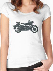 motorcycle, antique, vintage, classic, old, retro, cool, unique, biker, old biker, old. Women's Fitted Scoop T-Shirt