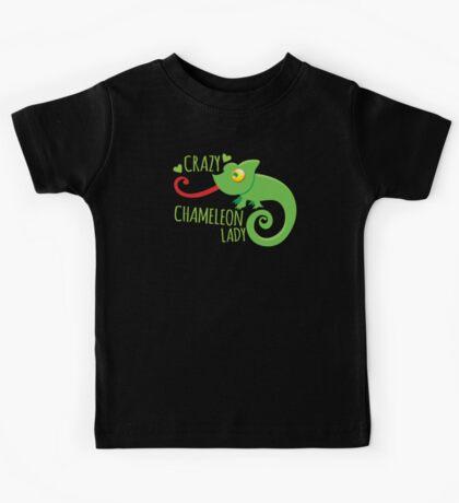 Crazy Chameleon lady Kids Tee