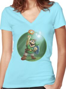 The Legend of Mario Women's Fitted V-Neck T-Shirt