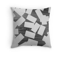 white sheets of paper scattered  Throw Pillow
