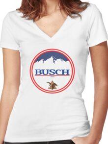 buschlight, busch light, busch, beer, drink, mountain, pub, logo, symbol. Women's Fitted V-Neck T-Shirt