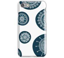 Cute doodle floral blue pattern iPhone Case/Skin
