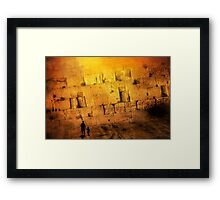 Father and son holding hands looking at the western wall in Jerusalem Framed Print