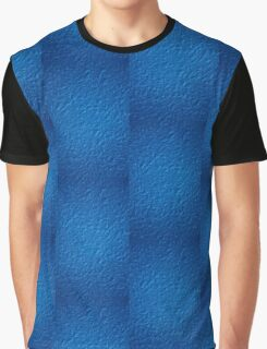 Brilliant Jewel Blue Abstract Faux Bumpy Crinkled Crumpled Paper Pattern Graphic T-Shirt
