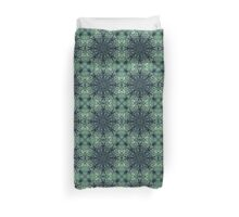 Intricate Green Lacy Rosette Centre Mandala Radiating Eastern Influenced Pattern in Light Green and Dark Green Duvet Cover