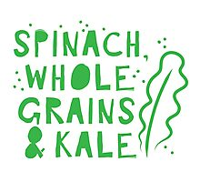 Spinach whole grains and kale Photographic Print