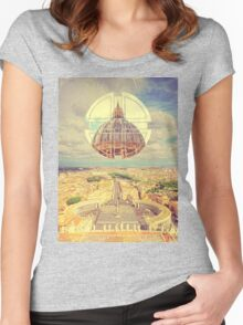 Geometric Vatican St Peter's Square Basilica Dome Italy Rome Women's Fitted Scoop T-Shirt