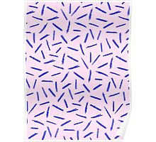 Crayon Scribble Pattern Pink Blue Poster