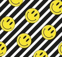 Smiley and Black & White Stripes Pattern Sticker