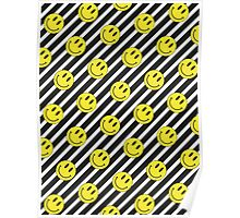 Smiley and Black & White Stripes Pattern Poster