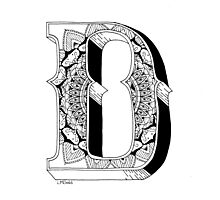 D - Mandala N°1 inside Alphabet N°1 Photographic Print