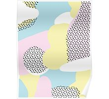 Candy Pink Blue Blobs & Dots Pattern Poster