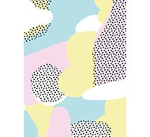 Candy Pink Blue Blobs & Dots Pattern Photographic Print