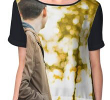man looks toward the woods Chiffon Top