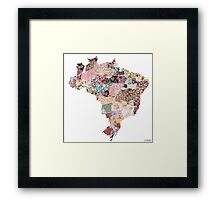 Brazil map Framed Print