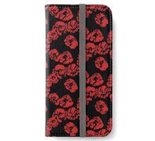 poppy flowers on the black iPhone Wallet/Case/Skin