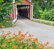 Covere Bridge and Orange Roadside Lilies by Kenneth Keifer