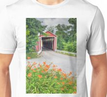 Covered Bridge and Orange Roadside Lilies Unisex T-Shirt