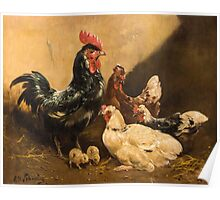 Paul Henry Schouten (Paris  Boitsfort) The proud rooster with hens and chicks Poster