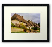 Picture postcard thatched cottages Framed Print
