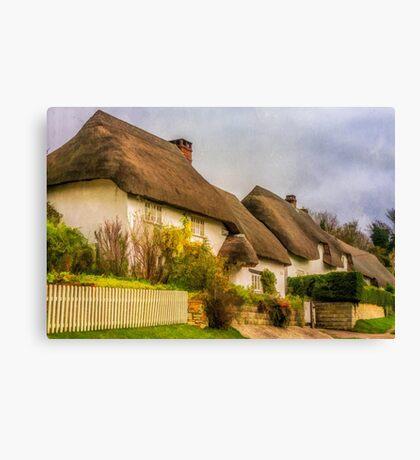 Picture postcard thatched cottages Canvas Print