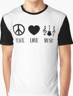 peace Love Music (Black) Graphic T-Shirt