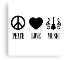 peace Love Music (Black) Canvas Print