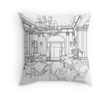 Elegant Hand Drawn Period Dinning Throw Pillow