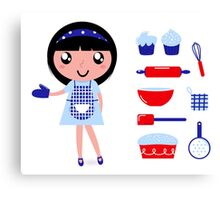 Cute retro cooking woman with various kitchen items Canvas Print