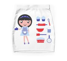 Cute retro cooking woman with various kitchen items Mini Skirt