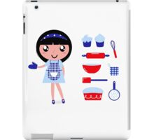 Cute retro cooking woman with various kitchen items iPad Case/Skin