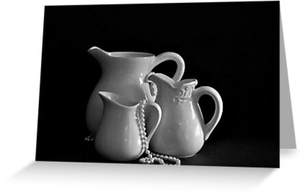 Three Pitchers by the Window in B&W by Sherry Hallemeier