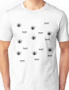 print of open and close eyes.  Unisex T-Shirt
