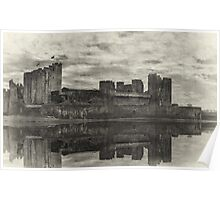 Reflections Of Caerphilly Castle   Poster