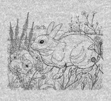 Rabbit Black on White One Piece - Short Sleeve
