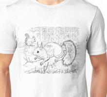 Red Squirrel Black on White Unisex T-Shirt