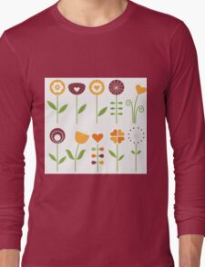 Hand drawn flowers set - orange, brown and green Long Sleeve T-Shirt