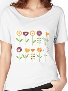 Hand drawn flowers set - orange, brown and green Women's Relaxed Fit T-Shirt