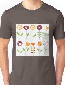 Hand drawn flowers set - orange, brown and green Unisex T-Shirt