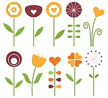 Hand drawn flowers set - orange, brown and green Photographic Print