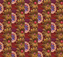 Velvet Flowers with Frame & Beads by Tamarra
