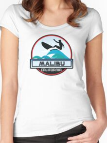 Surfing Malibu California Surf Surfboard Waves Ocean Beach Vacation Women's Fitted Scoop T-Shirt