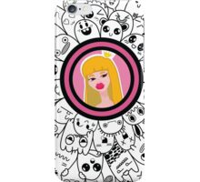 dudling patterns and ornaments from various monsters and blond girl with a crown iPhone Case/Skin