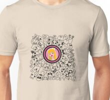 dudling patterns and ornaments from various monsters and blond girl with a crown Unisex T-Shirt